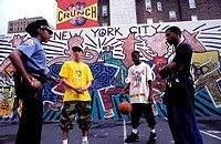 United States, New York, Manhattan, Upper west Side, field of basketball for underprivileged young people