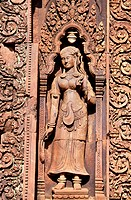 Cambodia, Banteay Srei, Angkor site, divinity keeping the temple