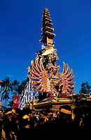 Indonesia, Bali, cremation tower in Gyaniar city