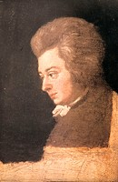Czech Republic, Prague, the Villa Bertramka, portrait of Amadeus Mozart
