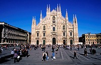 Italy, Lombardy region, Milan, the Duomo Square located in historical center, the Cathedral in Gothic style