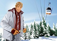 Man posing with ski lift in the background