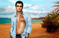 Man with shirt open posing on beach