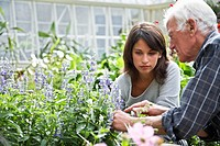 Grandfather and Granddaughter in Garden