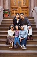 Family Posed on Steps of Brownstone