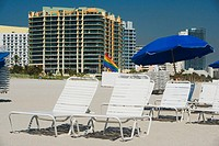 Beach chairs and umbrellas on the beach