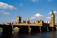 View of Parliament behind a bridge, London, England