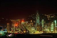 Buildings in a city lit up at night, Hong Kong, China