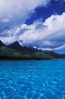 Mountain range along the sea, Hawaii, USA