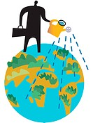 Businessman watering the earth