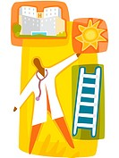 A doctor climbing up the ladder towards a bright career at a hospital