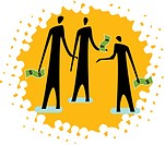 An image of three people holding money on yellow background