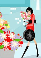 A pregnant woman buying flowers