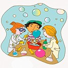 Children conducting a science experiment
