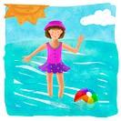 A little girl enjoying a day at the beach
