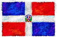 Drawing of the flag of Dominican Republic
