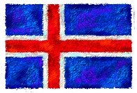 Drawing of the flag of Iceland
