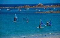 Windsurfer, and, boats, Cobo, Bay, Guernsey, Channel, Islands, Great, Britain