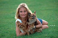 Woman, with, Chihuahuas