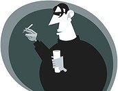 A black and white drawing of a man with a drink and cigarette