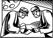Two surgeons performing surgery on a piece of paper illustrated in black and white