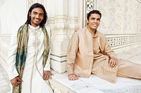 Portrait of two young men smiling, Taj Mahal, Agra, Uttar Pradesh, India