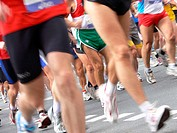 Athletes running in marathon