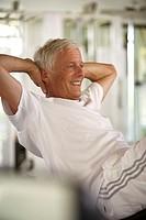 Fitness centre, senior, training, happy, detail,