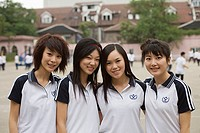 Female students smiling together