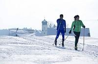 Langlaufloipe, pair, Langlaufen, series, winter-landscape, Loipe, people, 20-30 years, 30-40 years, long-runners, movement, athletes, sport, leisure t...