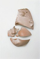 Doll-head, porcelain, broken, porcelain-doll, doll, about 1915, porcelain-doll-head head face porcelain-face biscuit-porcelain, shattered, shards, por...