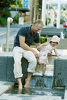 City, well-installation, father, daughter, barefoot, water, stands, cheerfully, omitted, series, people, man, 40-50 years, child, 2-5 years, girls, su...