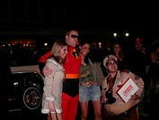 USA, New York city Halloween people disguise fun, group-picture, evening, outside, America, city, Manhattan, cult, tradition, party, celebration, stre...