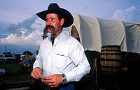 Al Johansson, cowboy with a famous moustache. Fort Worth. Texas. USA.