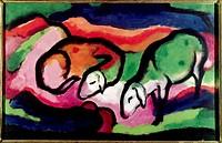fine arts, Marc, Franz, 1880 _ 1916, painting, Schafe, sheep, 1912, oil on canvas, 49,5 cm x 77 cm, Saarland museum, Munich, historic, historical, Eur...