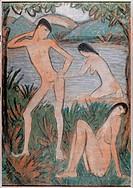 fine arts, Mueller, Otto 1874 _ 1930, painting, Die großen Badenden, Municipal Collesction Bielefeld, German, expressionism, nude, man, woman, bathing...