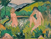 fine arts, Mueller, Otto 1874 _1930, painting, Badende Mädchen, circa 1920, Osthaus Museum, Hagen, German, expressionism, people, women, nude, bathing...