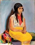 fine arts, Levy, Rudolf, 1875 _ 1944, painting, Zigeunerin, gypsy, East German gallery, Regensburg, historic, historical, Europe, Germany, 20th centur...