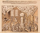 medicine, treatment, the miraculous laboratory of the physician Simplicissimi, satirical copper engraving, Germany, 17th century, private collection, ...
