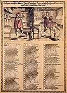 medicine, physicians, Strange outrageous test of a poor but scholary medic and a rich but awkward physician, satirical leaflet, South Germany, 2nd hal...