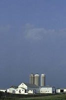 Barn with silos, Ohio, USA
