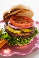Home-made hamburger with gherkins, onions, tomato