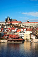 Prague Castle and Vltava River, Prague, Czech Republic
