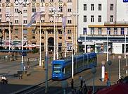 Croatia, Zagreb, Ban J Jelacic Square, Tram