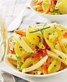 Potato salad with cheese and peppers