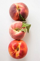 Two peaches with leaves and one nectarine