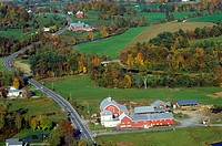 Aerial view of farm in autumn
