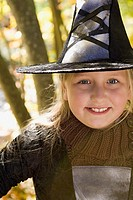 Girl dressed as a witch
