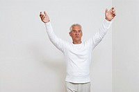 angry looking mature man gesturing
