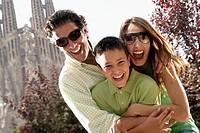 Family at the Church of the Sagrada Familia